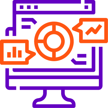 An icon with desktop consisting circular image for actionable insights analyzing unstructured data