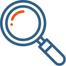 A magnifier - Represnets Icon for Research Content Services