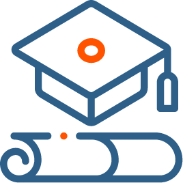 A mortarboard hat and Graduation and rolled certioficate for Education Content Services -