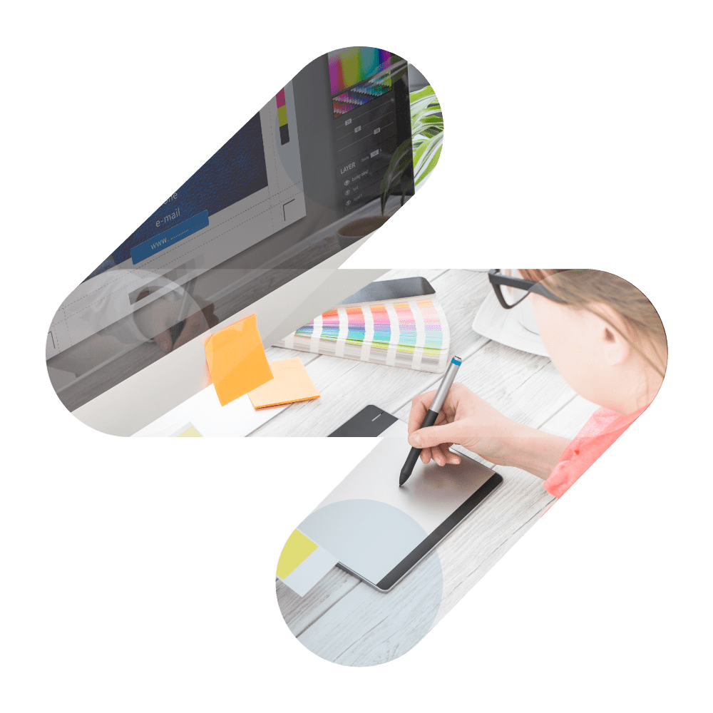 A transparent straive logo and a girl is writing with a pen in front of computer - eLearning solutions